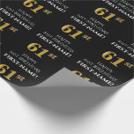 [ Thumbnail: 61st Birthday: Elegant, Black, Faux Gold Look Wrapping Paper ]