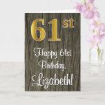 [ Thumbnail: 61st Birthday: Elegant Faux Gold Look #, Faux Wood Card ]