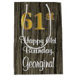 [ Thumbnail: 61st Birthday: Elegant Faux Gold Look #, Faux Wood Gift Bag ]