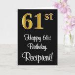 [ Thumbnail: 61st Birthday ~ Elegant Luxurious Faux Gold Look # Card ]