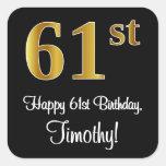 [ Thumbnail: 61st Birthday – Elegant Luxurious Faux Gold Look # Sticker ]