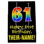"[ Thumbnail: 61st Birthday: Fun, Bold, Colorful, Rainbow ""61"" Gift Bag ]"