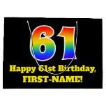 [ Thumbnail: 61st Birthday ~ Fun, Colorful, Vibrant, Rainbow 61 Gift Bag ]
