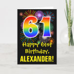 [ Thumbnail: 61st Birthday: Fun Fireworks Pattern + Rainbow 61 Card ]