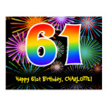 [ Thumbnail: 61st Birthday – Fun Fireworks Pattern + Rainbow 61 Postcard ]