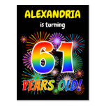 "[ Thumbnail: 61st Birthday - Fun Fireworks, Rainbow Look ""61"" Postcard ]"