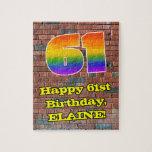 [ Thumbnail: 61st Birthday: Fun Graffiti-Inspired Rainbow 61 Jigsaw Puzzle ]