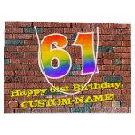 [ Thumbnail: 61st Birthday: Fun, Graffiti-Inspired Rainbow # 61 Gift Bag ]