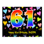 [ Thumbnail: 61st Birthday: Fun Hearts Pattern, Rainbow 61 Postcard ]