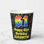 [ Thumbnail: 61st Birthday: Fun Music Notes Pattern, Rainbow 61 ]