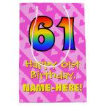 [ Thumbnail: 61st Birthday: Fun Pink Hearts Stripes; Rainbow 61 Gift Bag ]