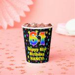 [ Thumbnail: 61st Birthday: Fun Stars Pattern and Rainbow 61 ]