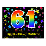 [ Thumbnail: 61st Birthday: Fun Stars Pattern, Rainbow 61, Name Postcard ]