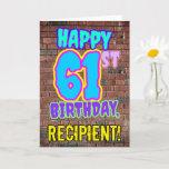 [ Thumbnail: 61st Birthday - Fun, Urban Graffiti Inspired Look Card ]