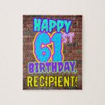 [ Thumbnail: 61st Birthday ~ Fun, Urban Graffiti Inspired Look Jigsaw Puzzle ]