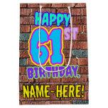 [ Thumbnail: 61st Birthday: Fun, Urban Graffiti Inspired Look Gift Bag ]