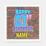 [ Thumbnail: 61st Birthday ~ Fun, Urban Graffiti Inspired Look Napkins ]