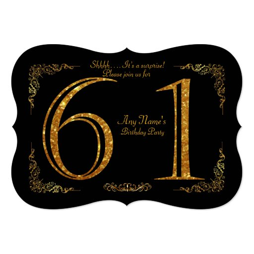 61st,Birthday party 61st,great Gatsby,black & gold Card ...