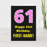 "[ Thumbnail: 61st Birthday: Pink Stripes and Hearts ""61"" + Name Card ]"