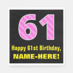 "[ Thumbnail: 61st Birthday: Pink Stripes and Hearts ""61"" + Name Napkins ]"