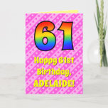 [ Thumbnail: 61st Birthday: Pink Stripes & Hearts, Rainbow # 61 Card ]