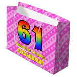 [ Thumbnail: 61st Birthday: Pink Stripes & Hearts, Rainbow # 61 Gift Bag ]