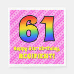 [ Thumbnail: 61st Birthday: Pink Stripes & Hearts, Rainbow # 61 Napkins ]