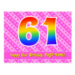 [ Thumbnail: 61st Birthday: Pink Stripes & Hearts, Rainbow 61 Postcard ]