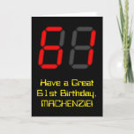 """[ Thumbnail: 61st Birthday: Red Digital Clock Style """"61"""" + Name Card ]"""