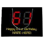 "[ Thumbnail: 61st Birthday: Red Digital Clock Style ""61"" + Name Gift Bag ]"