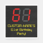 "[ Thumbnail: 61st Birthday: Red Digital Clock Style ""61"" + Name Napkins ]"