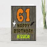 [ Thumbnail: 61st Birthday: Spooky Halloween Theme, Custom Name Card ]