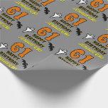 [ Thumbnail: 61st Birthday: Spooky Halloween Theme, Custom Name Wrapping Paper ]