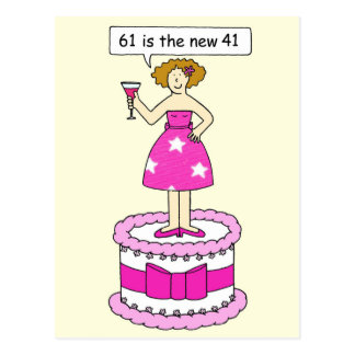 61st bithday age humour for her, lady on a cake. postcard