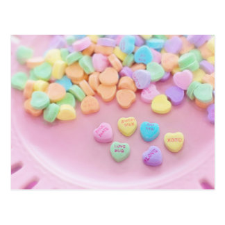 626 PASTEL CANDY HEARTS LOVE SAY YES SOULMATES CUT POSTCARD
