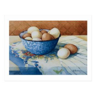 6293 huevos en cuenco del Enamelware Postales