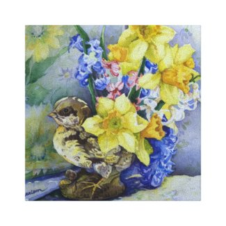 6296 Daffodils Bird Planter Wrapped Canvas Print
