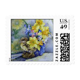6296 Daffodils in Bird Planter Postage