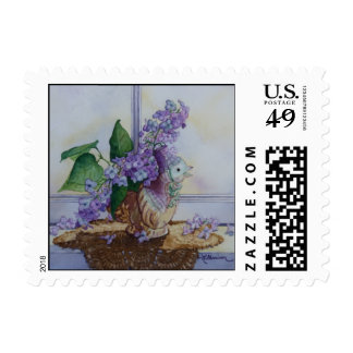 6298 Lilacs in Bird Vase Postage