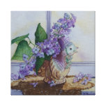 6298 Lilacs in Bird Vase Wrapped Canvas Print