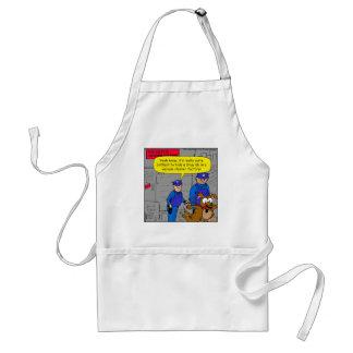 629 fearful police drug dog cartoon adult apron