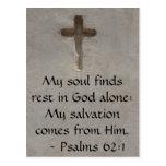 62:1 inspirado de los salmos de la cita de la bibl tarjeta postal