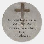 62:1 inspirado de los salmos de la cita de la pegatinas redondas