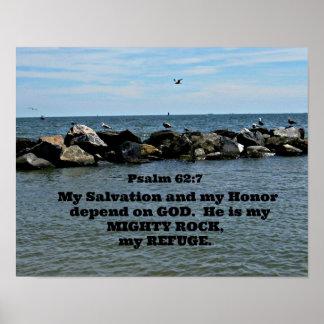 62:7 del salmo mi salvación y mi honor dependen de póster