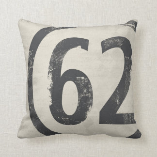 62 Grunge Number Design Age or Birth Year Throw Pillow