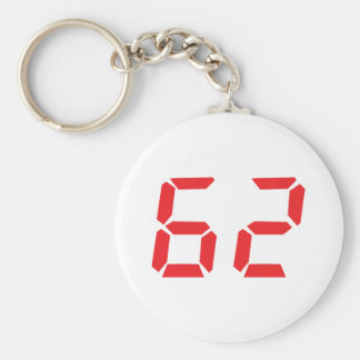 62 sixty-two red alarm clock digital number basic round button keychain