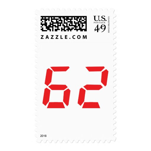 62 sixty-two red alarm clock digital number postage