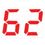 62 sixty-two red alarm clock digital number post cards