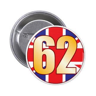 62 UK Gold Pinback Button