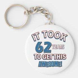 62 year old birthday designs keychain